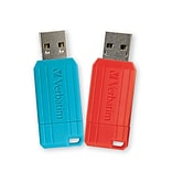 Verbatim 64GB Pinstripe USB 2.0 Flash Drive, Caribbean Blue, Red, 2PK (70059)
