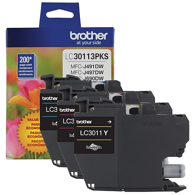 Brother LC3011 Color Ink Cartridges, Standard Yield, 3/Pack