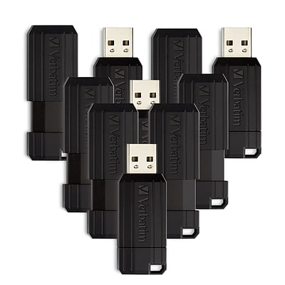 Verbatim 32GB Pinstripe USB Flash Drive, Black, 10 Pack (70062)