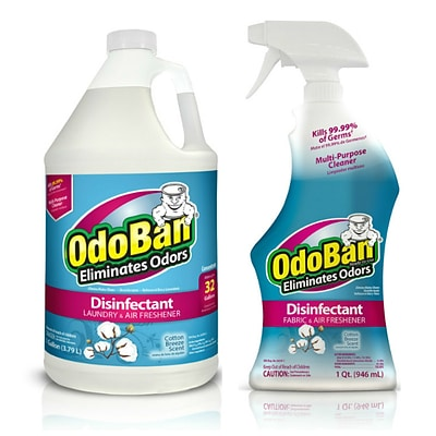 OdoBan Disinfectant Odor Eliminator Ready-to-Use 32 oz. Spray and 1 Gallon Concentrate, Cotton Breeze Scent (OBCTG-STP)