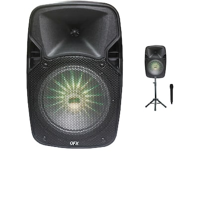 "QFX PBX-811SM 8"" Portable Party Speaker with Wireless Microphone And Stand"