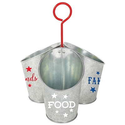 Amscan Patriotic Food Family Friends Galvanized Utensil Caddy, 10.75 x 7.25, Metal (431944)
