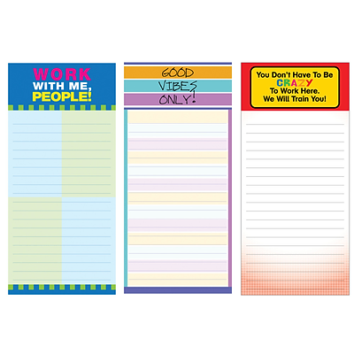 Inkology Office Magnetic Memo Pads, Assorted, 7.5 x 3.5, 12 Pack (6992)