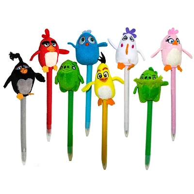 Angry Birds Plush Pen, Assorted, 7 x 1.5, 8 Pack (7319)