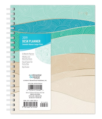 "2019 Brown Trout 6"" x 7.75"" Weekly Desk Planner with Large Print, Seaside Manor, Ocean and Beach Art (9781465079534)"