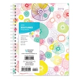 2019 Brown Trout 6 x 7.75 Weekly Desk Planner, Vintage Blooms Flower Artwork and Designs (9781465079