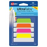 Avery UltraTabs 2.5 x 1 Margin Tabs, Assorted Neon, 48/Pack (74865)