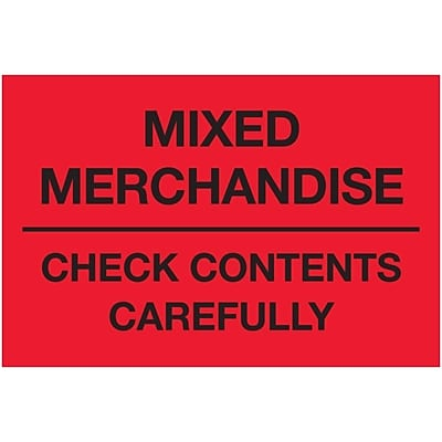 Tape Logic® Labels, Mixed Merchandise Check Contents Carefully, 2 x 3, Fluorescent Red, 500/Roll (DL1621)