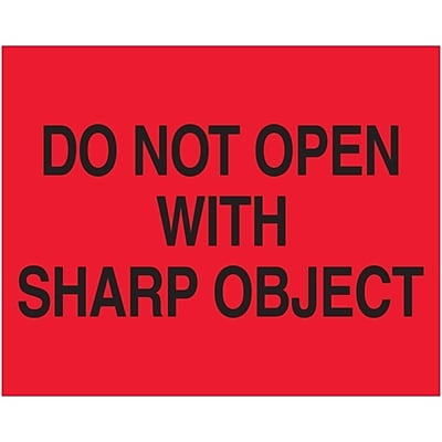 Tape Logic® Labels, Do Not Open with Sharp Object, 8 x 10, Fluorescent Red, 250/Roll (DL1631)