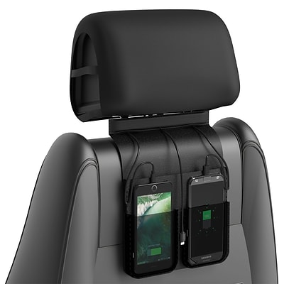 ChargeTech Car Backseat Charging Station, (3) Braided Cables, Black Leather w/ Pouches (CCS3)