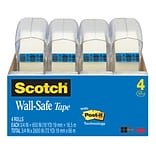 Scotch® Wall-Safe Tape, 3/4 x 18.05 yds., 4 Rolls/Pack (4183)