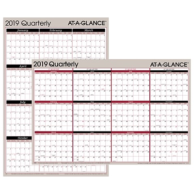 AT-A-GLANCE® Vertical/Horizontal Erasable Quarterly Wall, Reversible, 12 Months, January Start, 36 x 24, Red/Black (A123-19)