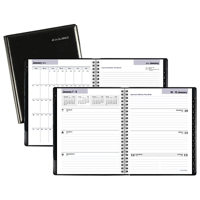 AT-A-GLANCE® DayMinder® Executive Refillable Wkly/Monthly Planner, 12 Months, January Start, 6 7/8 x 8 3/4, Black (G545-00-19)