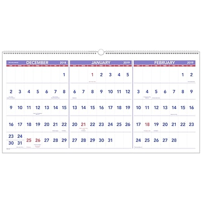 AT-A-GLANCE® 3-Month Reference Horizontal Wall Calendar, 15 Months, December Start, 23 1/2 x 12, Wirebound (PM14-28-19)