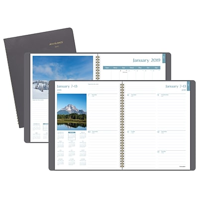 AT-A-GLANCE® DayMinder® Scenic Weekly/Monthly Planner, 12 Months, January Start, 8 1/4 x 10 7/8, Gray (G700-30-19)