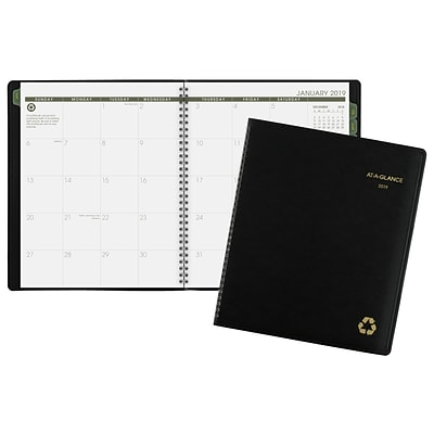 AT-A-GLANCE® Recycled Monthly Planner, 13 Months, January Start, 8 7/8 x 11, Black (70-260G-05-19)