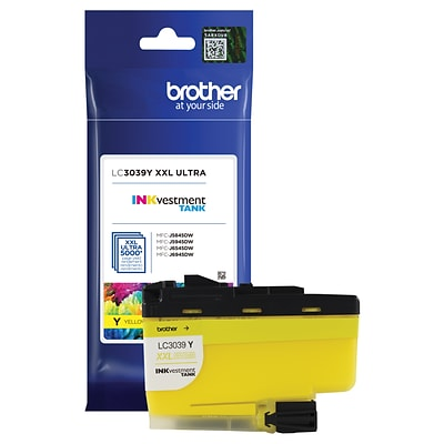Brother Genuine Yellow INKvestment Tank Ink Cartridge, Ultra High-Yield, (LC3039Y)