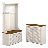 Bush Furniture Fairview Hall Tree with Shoe Bench and Small Storage Cabinet, Antique White/Tea Maple