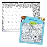 2019 Blueline® DoodlePlan™ 12-Month Monthly Coloring Desk Pad, 22 x 17, Floral (C2917311-19)