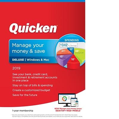 Quicken Deluxe 2019 For 1 User Windows Mac Download 0170237 Quill Com