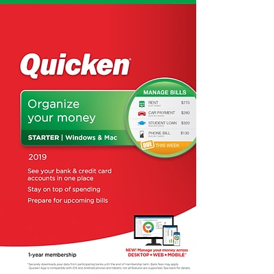 Quicken Starter 2019 for 1 User, Windows/Mac, Download (0170236)