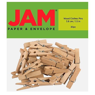 JAM Paper® Wood Clip Clothespins, Large 1 1/2 Inch, Natural, 30 Clothes Pins/Pack (230734411)
