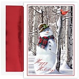 JAM Paper® Christmas Cards Set, Snowman with Cardinal, 18/Pack (526902200)