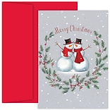 JAM Paper® Christmas Cards Set, Snow Buddies, 18/Pack (526912300)