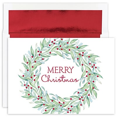 JAM Paper® Christmas Cards Set, Simple Wreath, 18/Pack (526913800)
