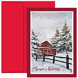 JAM Paper® Christmas Cards Set, Winter Barn, 18/Pack (526914200)