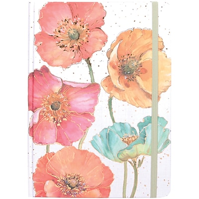 JAM Paper® Hardcover Notebook with Elastic, 5 3/4x8 1/4, Gilded Poppies Journal, 160 Lined Sheets, Sold Individually (377234322)