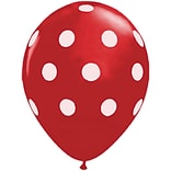 JAM Paper® Party Balloons, 12 Inch Latex Balloons, Red Polka Dot, 36/Pack (377834390A)