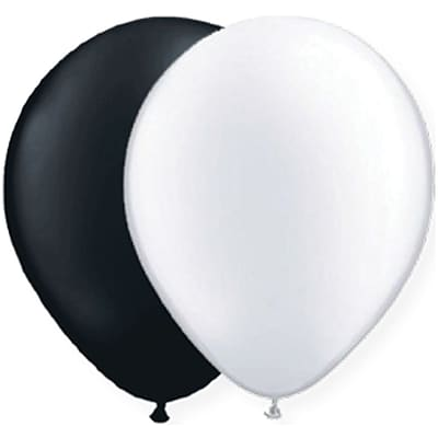 JAM Paper® Party Balloons, 12 Inch Latex Balloons, Black & White Assortment, 36/Pack (377834383A)