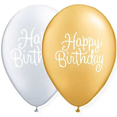 JAM Paper® Party Balloons, 12 Inch Latex Balloons, Silver & Gold Birthday Assortment, 36/Pack (377834399A)