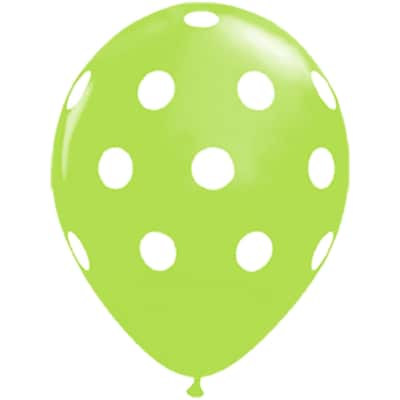 JAM Paper® Party Balloons, 12 Inch Latex Balloons, Lime Green Polka Dot, 36/Pack (377834392A)