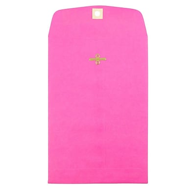 JAM Paper® 6 x 9 Open End Catalog Colored Envelopes with Clasp Closure, Ultra Fuchsia Pink, 25/Pack (900909024F)