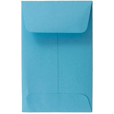 JAM Paper® #1 Coin Business Colored Envelopes, 2.25 x 3.5, Blue Recycled, 100/Pack (352727818F)
