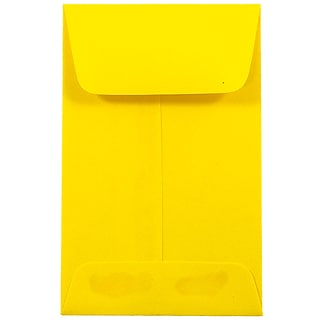 JAM Paper® #1 Coin Business Colored Envelopes, 2.25 x 3.5, Yellow Recycled, 100/Pack (353127843F)
