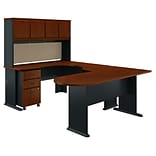 Bush Business Furniture Cubix U Shaped Corner Desk with Hutch and Mobile File Cabinet, Hansen Cherry