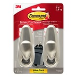 Command™ Large Forever Classic Brushed Nickel Metal Hook, 2 Hooks, 4 Strips/Pack (FC13-BN-2ES)