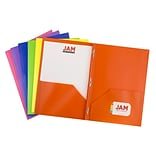 JAM Paper® Plastic 2 Pocket Pop School Folders with Metal Prong Fastener Clasps,Assorted Primary Col
