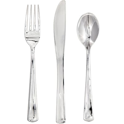 Creative Converting Metallic Silver Cutlery Set Boxed, 24/Pack (315132)