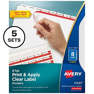 Avery Index Maker Print & Apply Label Paper Dividers, 8-Tab, White, 5 Sets/Pack (11437)