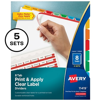 Avery® Index Maker® Clear Label Dividers with Easy Apply™ Label Strip, 8-Tab, Multicolor, 5/Pack (11419)