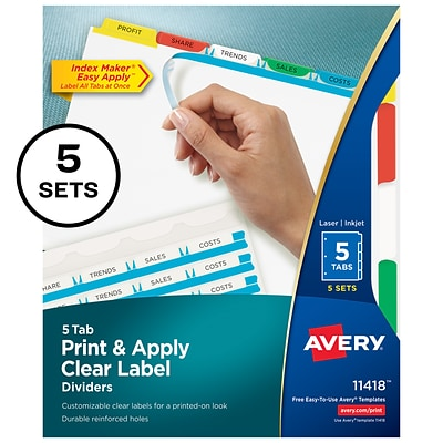 Avery® Index Maker® Clear/Colored Label Dividers for Laser/Inkjet Printers, 5 Tabs, Multi-Color