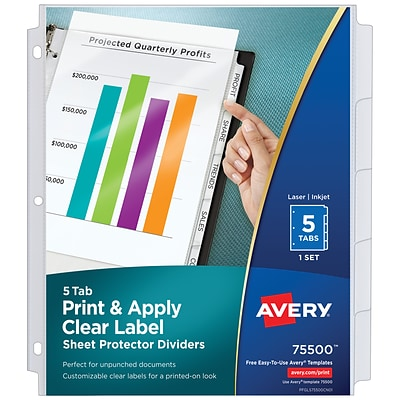 Avery Index Maker Sheet Protector Plastic Dividers, 5-Tab, Clear, Set (75500)