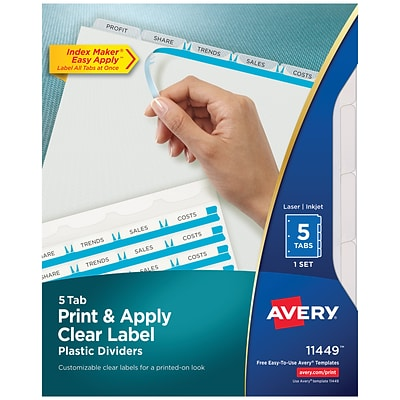 Avery Print & Apply Plastic 5 Tab Dividers, Frosted, Set (11449)