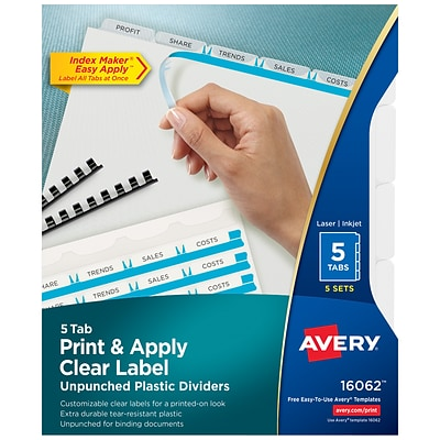 Avery Print Apply Index Maker Unpunched Plastic Dividers 5 Clear