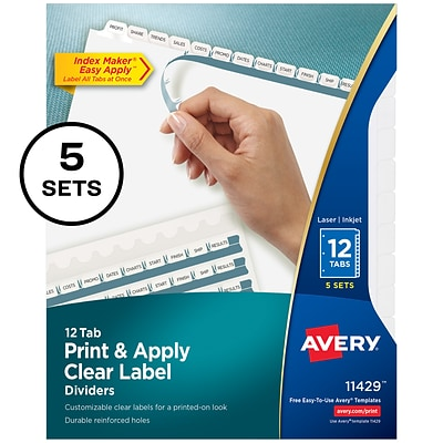 Avery Index Maker Print & Apply Label Paper Dividers, 12-Tab, White, 5 Sets/Pack (11429)