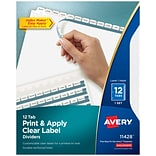 Avery Print & Apply Clear Label Dividers, Index Maker Easy Apply Printable Label Strip, 12 White Tab